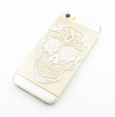 "Clear Plastic Case Cover for iPhone 6Plus (5.5"") Rose Eyes Sugar Skull mexican dia de los muertos"