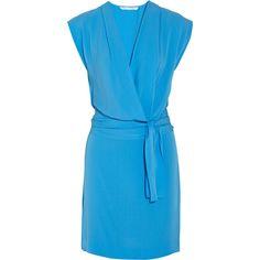 Diane von Furstenberg Reara belted silk wrap dress ($145) ❤ liked on Polyvore featuring dresses, blue, vestidos, silk dress, loose dress, blue cocktail dresses, blue silk dress and v-neck dresses