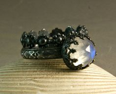 Rainbow Moonstone Ring Oxidized Sterling by TazziesCustomJewelry