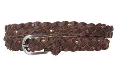 3/4'' (18 mm) Braided Woven Skinny Leather Nailheads Belt, Brown | S - 30'' Made by #beltiscool Color #Brown. Antique Silver buckle. Antique Silver and Gold nail heads. 100% soft leather. 3/4'' in width