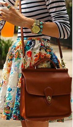 Luxury street style + classic Coach purse. ::M::