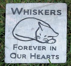 PERSONALIZED Cat Memorial Stone Grave Marker 6 x 6 Cat Memorial Burial Stone Maker Slate Memorial Sleeping Cat Stone Memorial