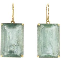 Jamie Joseph Square Green Aqumarine Earrings ($1,210) ❤ liked on Polyvore