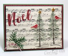 handmade Christmas card ...Thoughtful Branches ... collage look with stamping on patterned paper ... like the sheet music as background ...