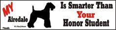 Airedale Terrier Smart Dog Bumper Sticker available at www.DogLoverStore.com