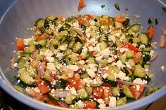 Anatomy of a Craft: Taziki's Cucumber Tomato Salad - made this and it is amazing - tastes just like Taziki's, but you need to add fresh basil to make it exactly like the original