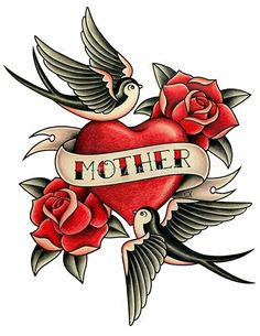 Sailor Jerry Traditional Tattoo - Mother with Heart, Sparrows and Roses by ArtForArtSakeT