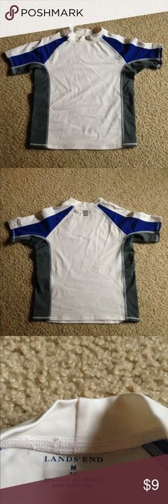 Lands End shirt size 5/6 White with blue/grey accents. In very good condition. Lands' End Shirts & Tops Tees - Short Sleeve