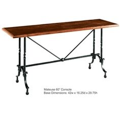 Wrought Iron Mateuse Console Table by Charleston Forge