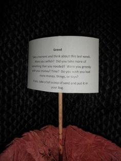 Confessions with Sand - Creative Prayer, this would be great to use with a youth group during Lent