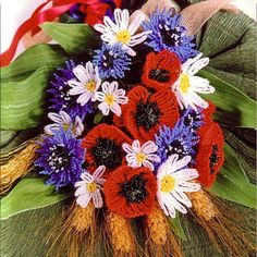weaving a beautiful bouquet of flowers from beads (Russian)