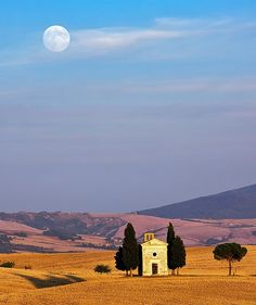 Moon over Tuscany, Italy