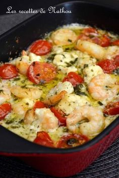 My cooking over my ideas .: Scampi with garlic, feta and cherry tomatoes .- My cooking over my ideas …: Scampi with garlic, … - Fish Recipes, Seafood Recipes, Cooking Recipes, Healthy Eating Tips, Healthy Recipes, Food Porn, Easy Dinner Recipes, Entrees, Food And Drink