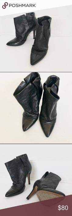 """Maison Martin Margiela slouchy ankle boots 36.5 Stylish Martin Margiela slouchy black leather ankle boots in size 36.5. The leather are in great condition. It's has a very wide opening, which will make your ankles look skinny. However it doesn't provides much support when walking in them. Heel height is 3"""" Maison Martin Margiela Shoes Ankle Boots & Booties"""
