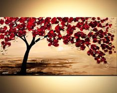 Abstracto contemporáneo floreciente árbol acrílico por OsnatFineArt