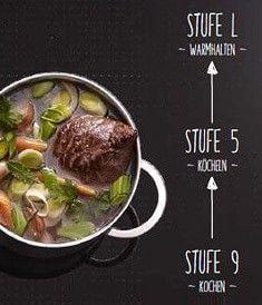 PowerMove teilt die Flexzone in drei Herdzonen auf: Vorne starke Hitze zum Kochen, im mittleren Bereich mittlere Hitze zum Köcheln und hinten kleine Hitze zum Warmhalten.
