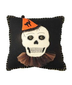 Felt Applique Party Skeleton Skull Halloween Pillow