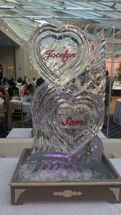 Our ice sculpture two hearts peacock wedding
