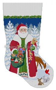 """""""Woodland Santa stocking"""" painted canvas by Susan Roberts Size: tall Mesh Count: 13 Needlepoint Designs, Needlepoint Canvases, Cross Stitch Stocking, Mini Stockings, Needlepoint Christmas Stockings, Santa Stocking, Christmas Canvas, Santa Face, Hand Painted Canvas"""