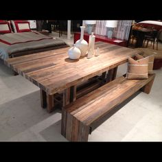 Reclaimed wood dining table and bench. @bed down, Atlanta