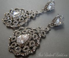Rhinestone Wedding Earrings Long Elegant Chandelier Bridal jewelry by AlexiBlackwellBridal, $49.00
