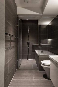 Bathroom , Modern Small Bathroom Design Ideas : Modern Small Bathroom Design With Slate Tiles And Walk In Shower And Tub::