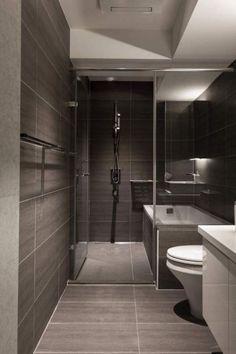 Bathroom , Modern Small Bathroom Design Ideas : Modern Small Bathroom Design With Slate Tiles And Walk In Shower And Tub::