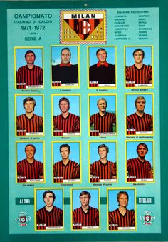 AC Milan team stickers for Ac Milan, Big Men, Illustrations And Posters, Soccer, Sports, 1970s, Barbie, Album, Stickers