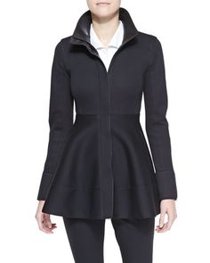 Sleeveless Collared Poplin Bodysuit & Peplum Zip Jacket with Leather Detail by Donna Karan at Neiman Marcus.