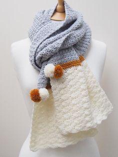 Crochet Scarf Design Snow Dipped Scarf Crochet pattern by betsymakes Crochet Scarves, Crochet Shawl, Crochet Yarn, Easy Crochet, Arm Knitting, Knitting Patterns, Motifs Beanie, Shrug For Dresses, Shawl