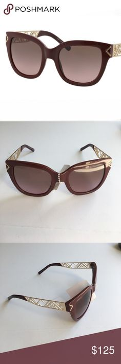 Tory Burch Chevron sunglasses Gorgeous Tory Burch Chevron sunglasses. Frames are brownish/burgundy plastic with gold metal chevron pattern on the arms. Gold detail at the temples. NWT- black unbranded hardcase included with purchase Tory Burch Accessories Sunglasses