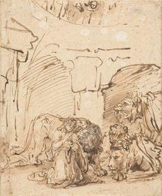 Rembrandt Harmensz. van Rijn (1606 – 1669) - Daniel in the Lions' Den, ca. 1652, drawing with pen and brush, 22 × 18 cm, Rijksmuseum, Amsterdam
