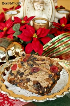Warmly spiced traditional Rich Fruit Cake studded with dried fruits and nuts. Layers of brandy and sherry keep it moist and flavorful. | RotiNRice.com