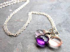 Amethyst Necklace Trio Briolettes Purple Pink by AeridesDesigns
