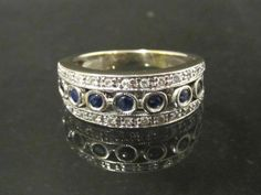 Vintage 14K Solid White Gold Blue Sapphire & by wandajewelry2013, $275.00