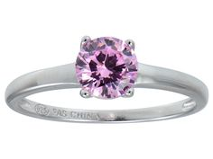 Bella Luce(R) 1.43ct Pink Diamond Simulant Rhodium Over Silver Solitaire Ring