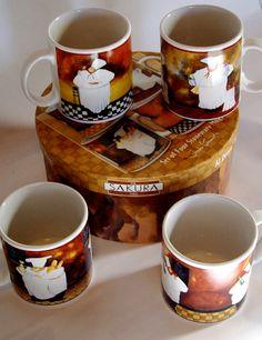 Vintage Sakura stoneware mugs fat chefs kitsch decora 1991