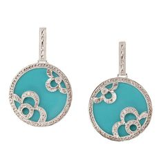 Robin's Egg Blue Turquoise Diamond Gold Dangle Earrings | From a unique collection of vintage dangle earrings at https://www.1stdibs.com/jewelry/earrings/dangle-earrings/