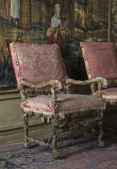 Dyrham Park, in Gloucestershire  l French armchair dating to the 1670s, part of a set of twelve in the North Drawing Room. ©NTPL/John Hammond