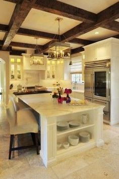Tudor style kitchen-love the ceiling!