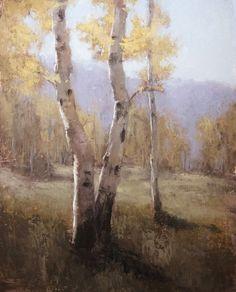 Jane Hunt, Autumn Aspens, oil, 36 x 24.