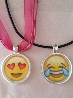 Emoji Inspired Necklace Smiley Face Wink Face  Expressions