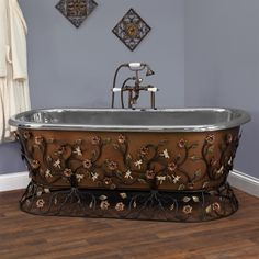 "71"" Flora Freestanding Hammered Copper Tub with Wrought Iron Stand - Nickel Interior"
