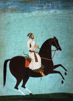 """Prince on a Brown Horse,"" Mogul miniature painting, eighteenth century"