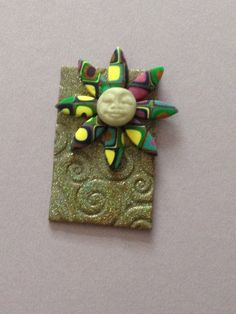OOAK layered polymer clay pin