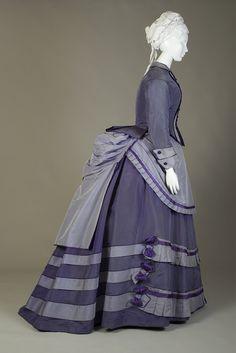 1870, probably America - Dark and light purple silk taffeta day dress