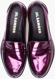 Jil Sander Metallic Purple Patent Leather Loafers