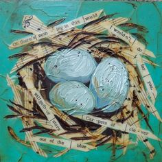 Mixed Media Nest – Christine Mac Shane Art - Beverly Home Page Collage Art Mixed Media, Mixed Media Painting, Mixed Media Canvas, Mixed Media Journal, Kids Collage, Kunstjournal Inspiration, Art Journal Inspiration, Art Inspo, Multimedia Arts