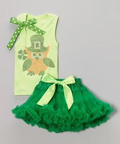 Love this Green Leprechaun Owl Tank & Pettiskirt - Infant, Toddler & Girls by So Girly & Twirly on #zulily! #zulilyfinds