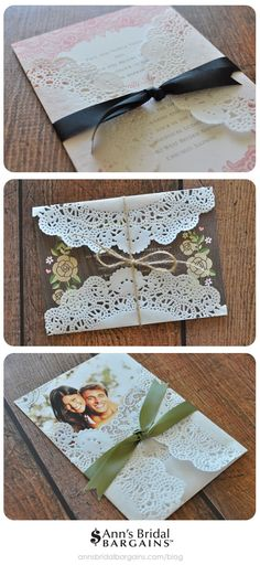 60add85455753d Cheap wedding invite + Craft Store Doily = Custom Look for Less Cash!  #saveyourbudget